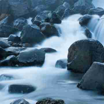 Nordic river flowing over rocks